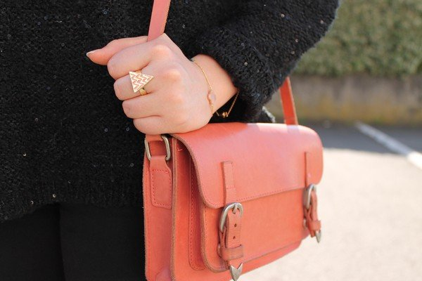Sac cartable rose corail