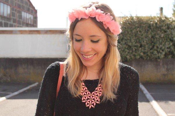 Headband fleurs rose corail