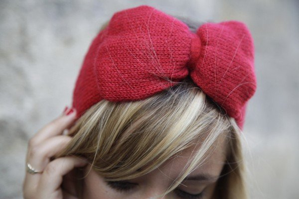 Headband laine noeud rouge