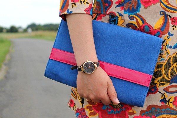 Pochette bleue montre fossil