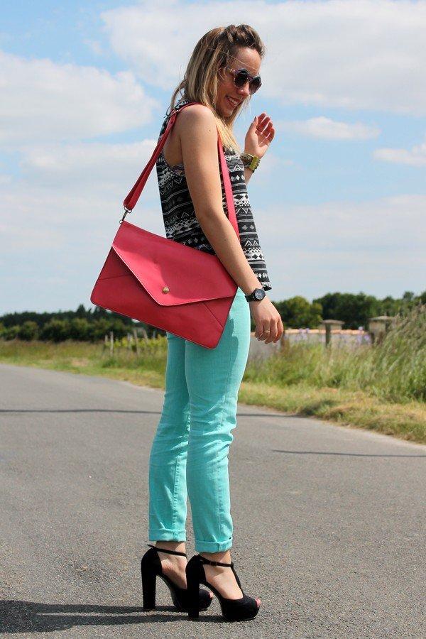 Jean pantalon vert menthe