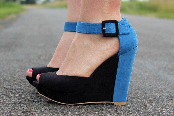 Sandales Compensées Bicolore Chaussures