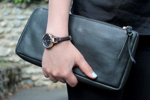 Pochette cuir noir Montre Fossil