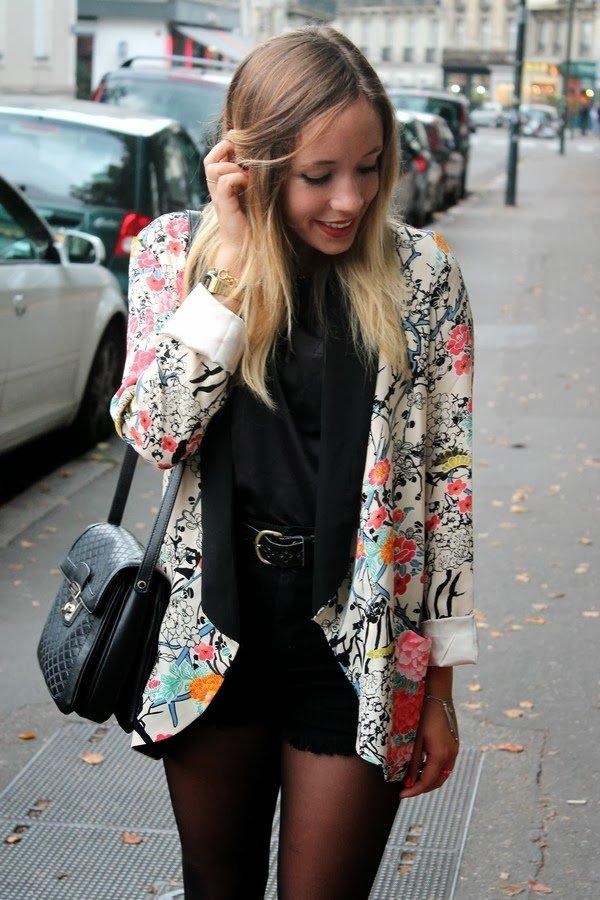 Kimono veste fleurs