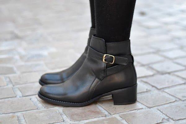 Bottines cuir noir motardes