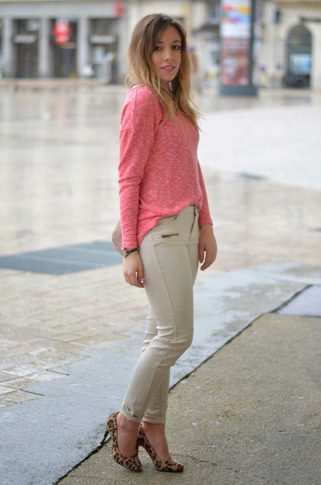 Pantalon slim beige