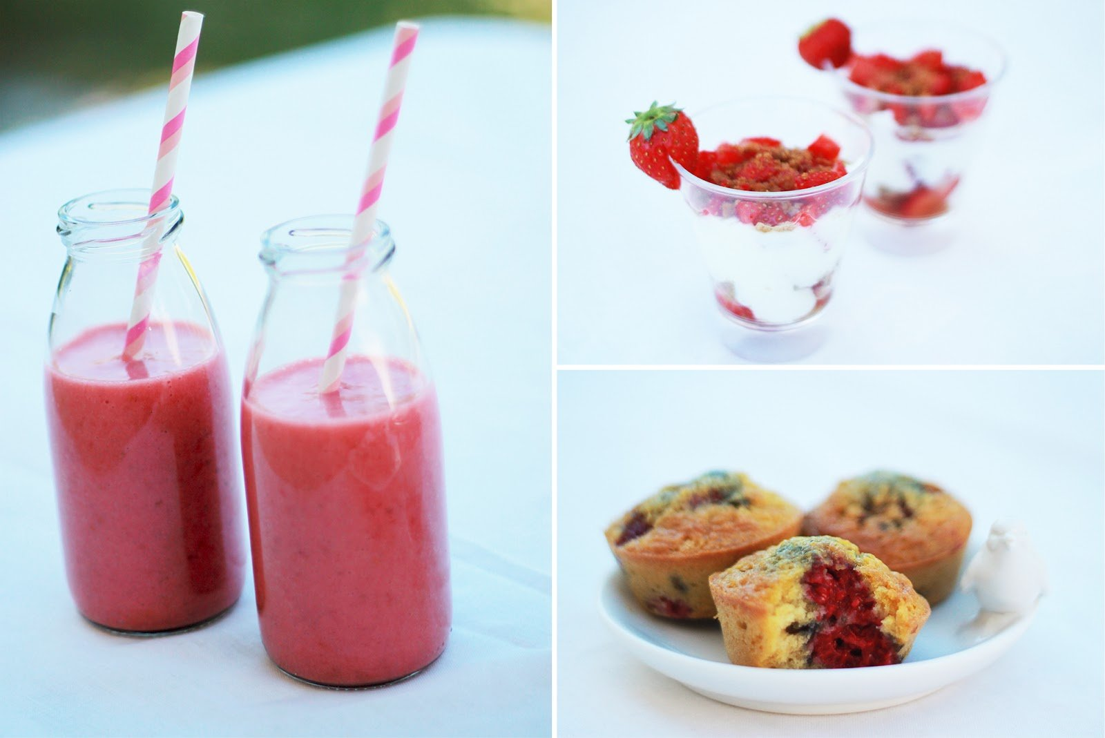 Smoothie fruits rouges, muffins framboise