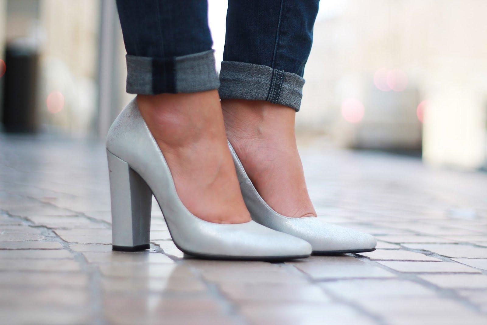 Escarpins gris paillettes