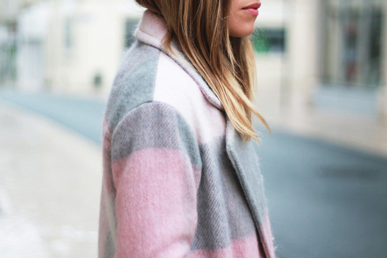 Manteau carreaux rose