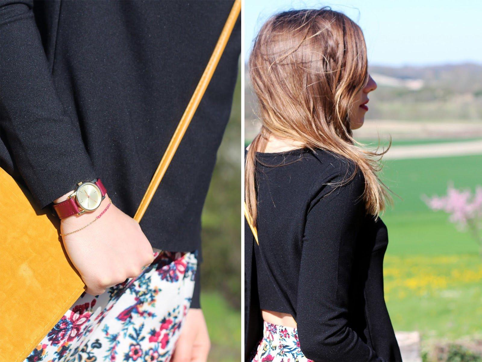 Pochette jaune et accessoires rouge bordeaux