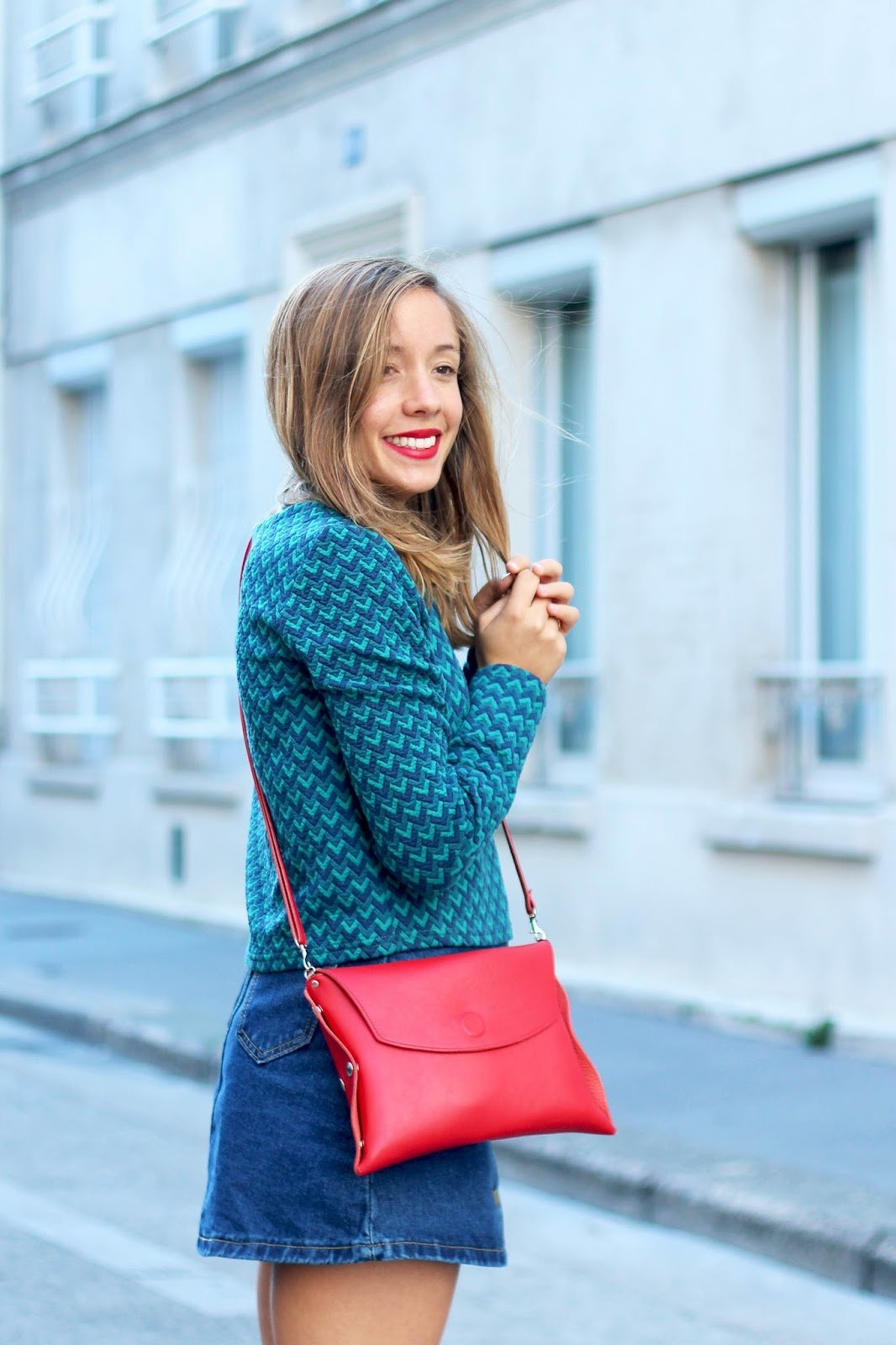 Pochette rouge cuir