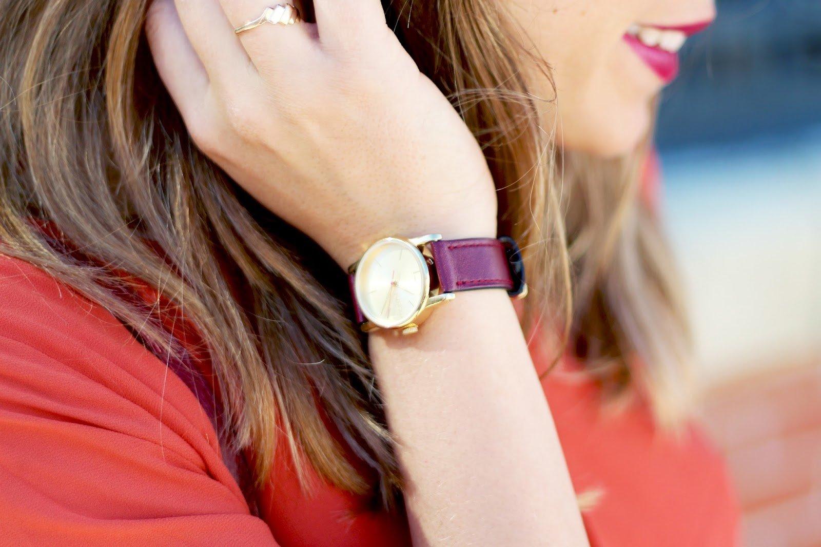 Montre cuir bracelet bordeaux