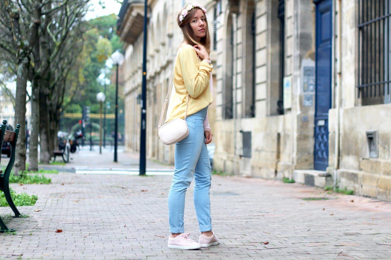 Pull jaune rose bicolore