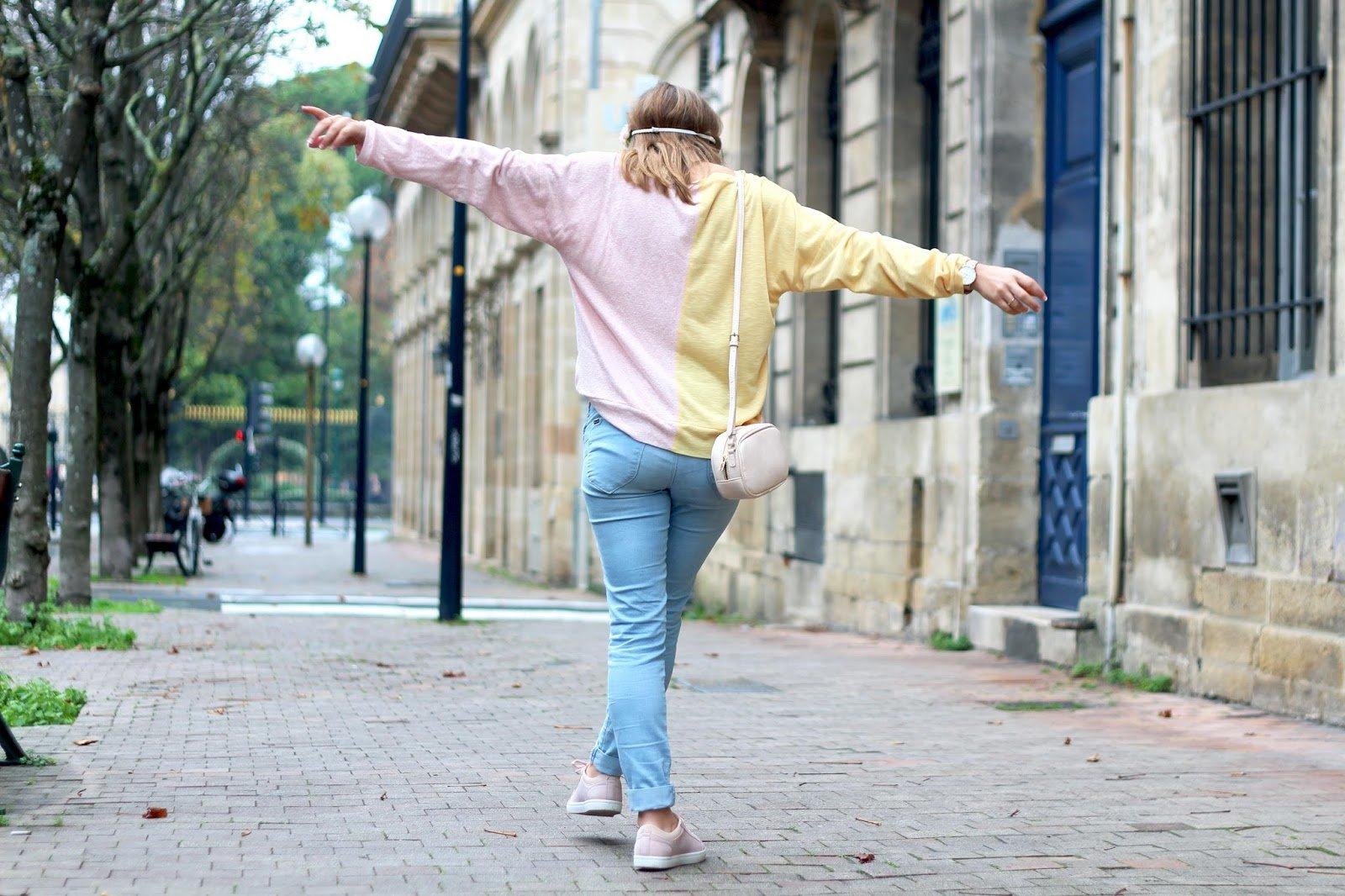Pull bi-colore rose jaune
