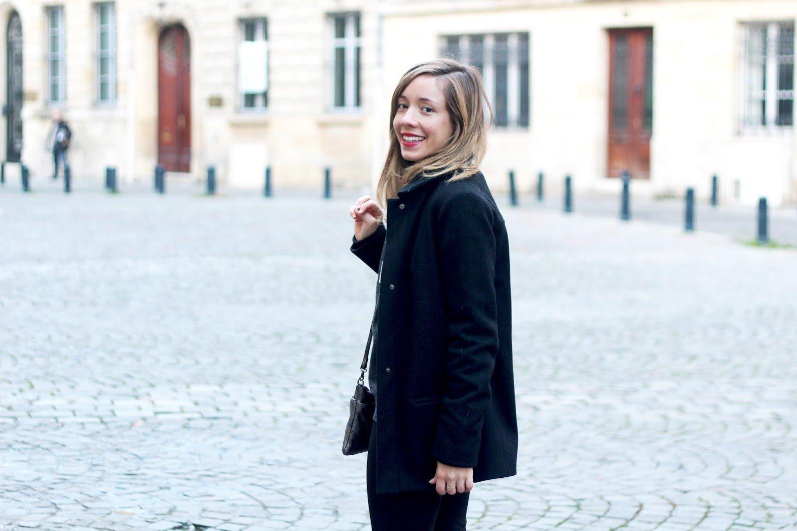 manteau noir caban