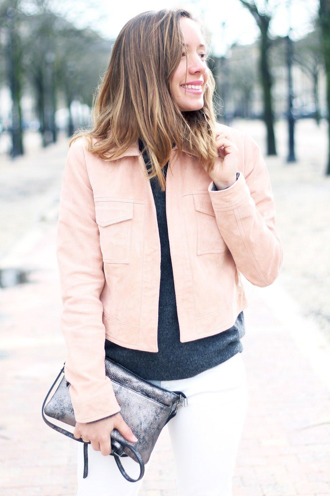 veste suédine rose pastel