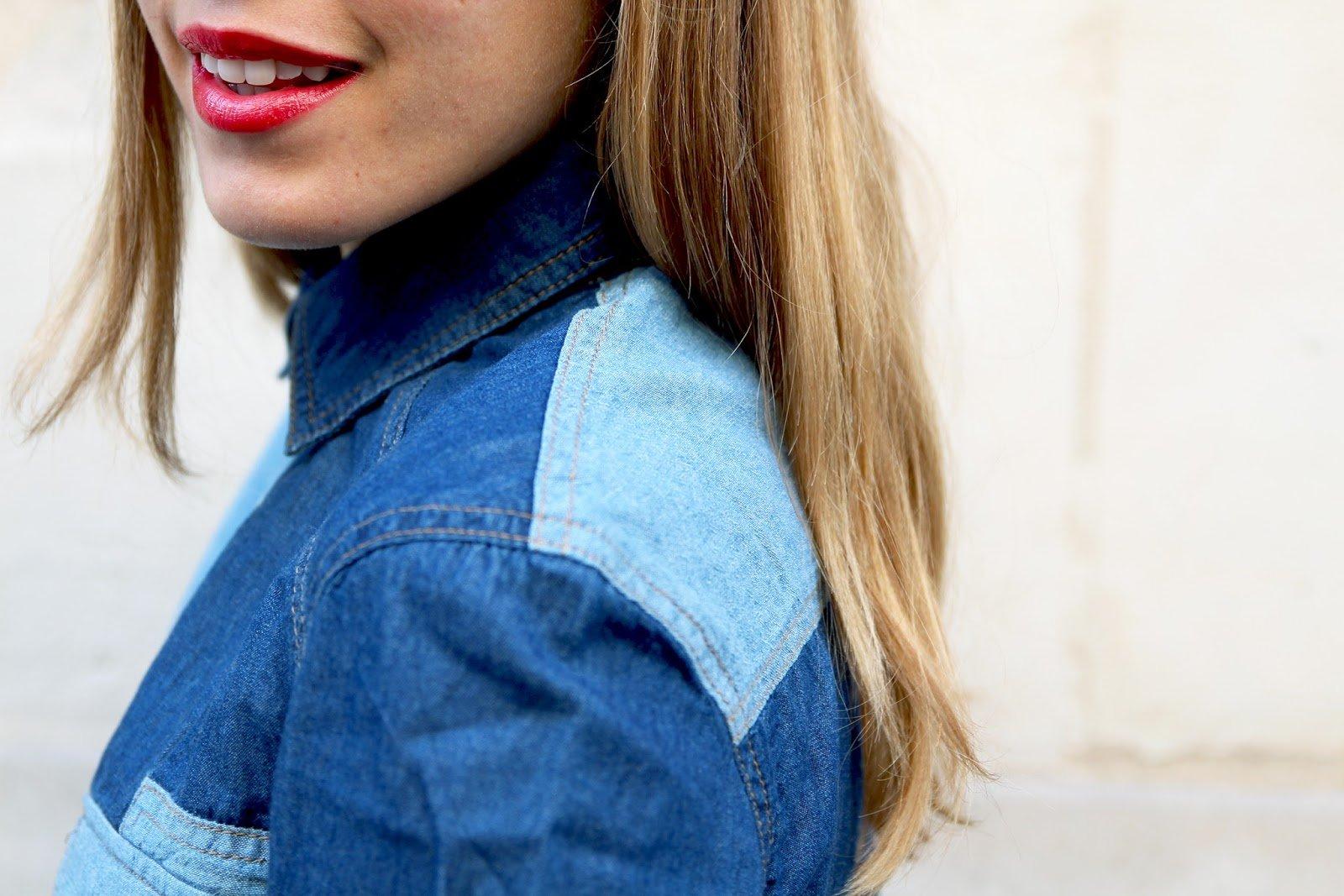 chemise jean bicolore