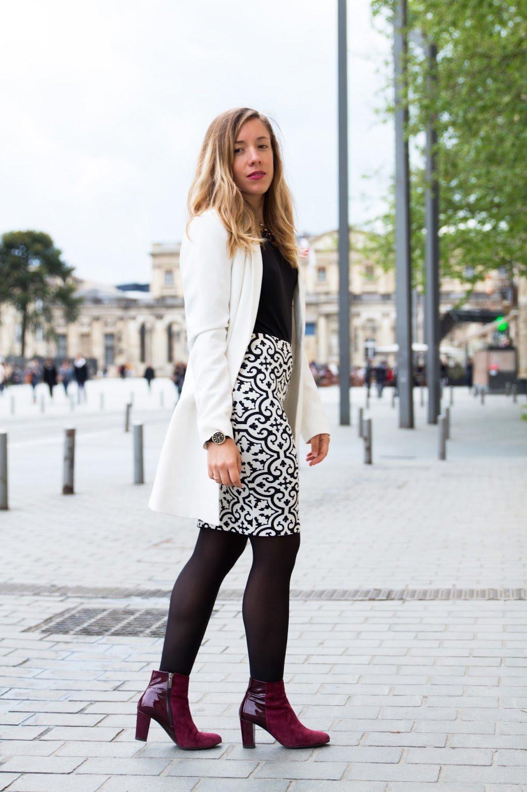 tenue noir blanc graphique chic