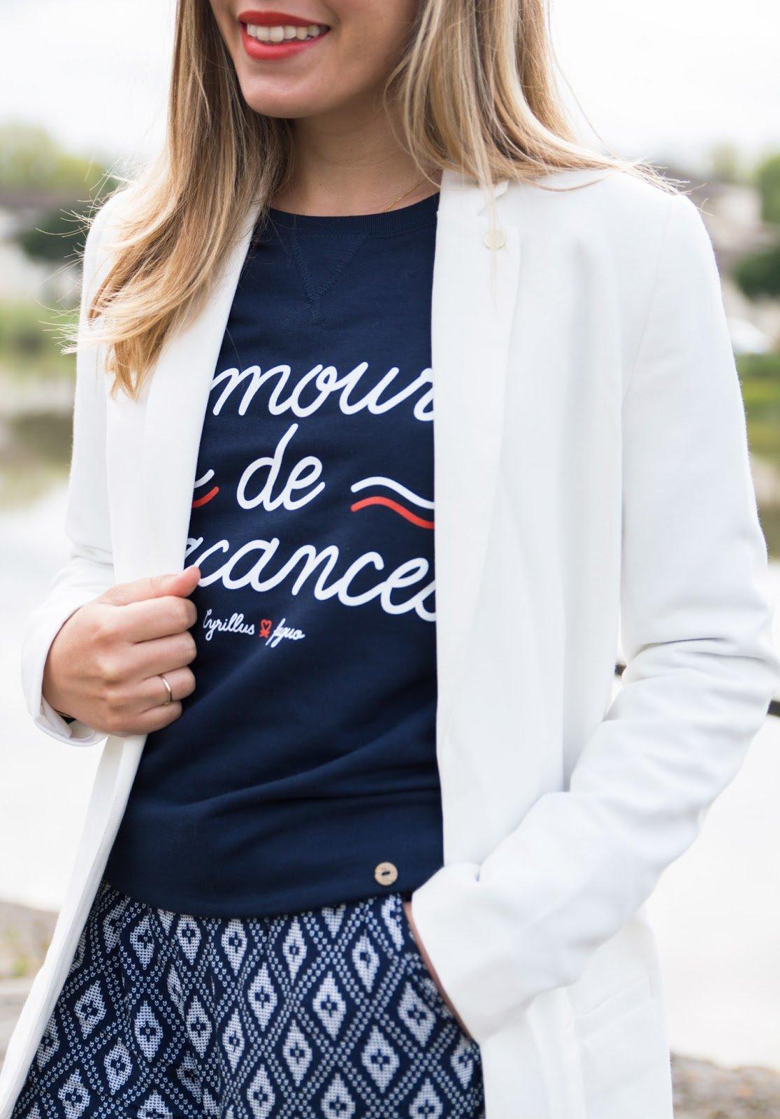 blazer long blanc I.Code sweat Cyrillus x Faguo