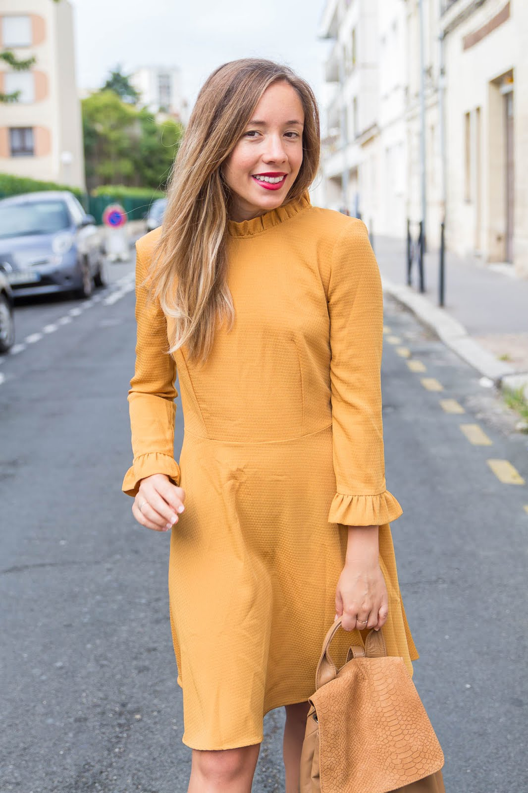 Robe manches longues jaune moutarde