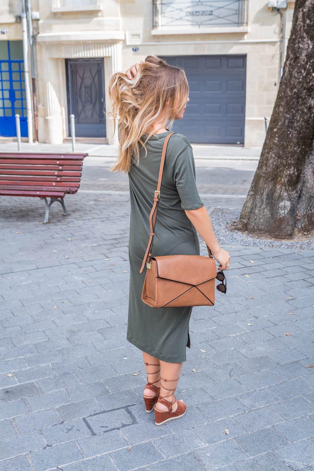 robe t-shirt longue kaki
