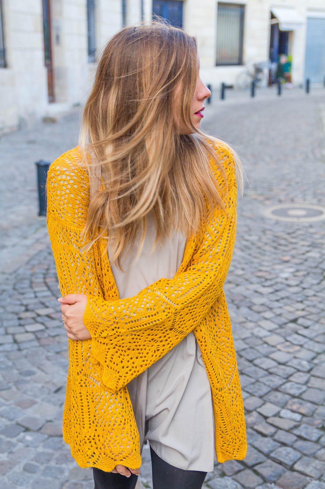 Gilet maille jaune moutarde