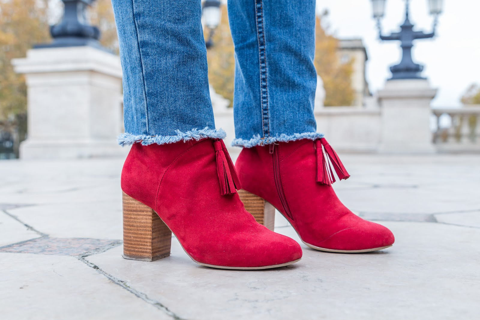 Bottines rouges à talons