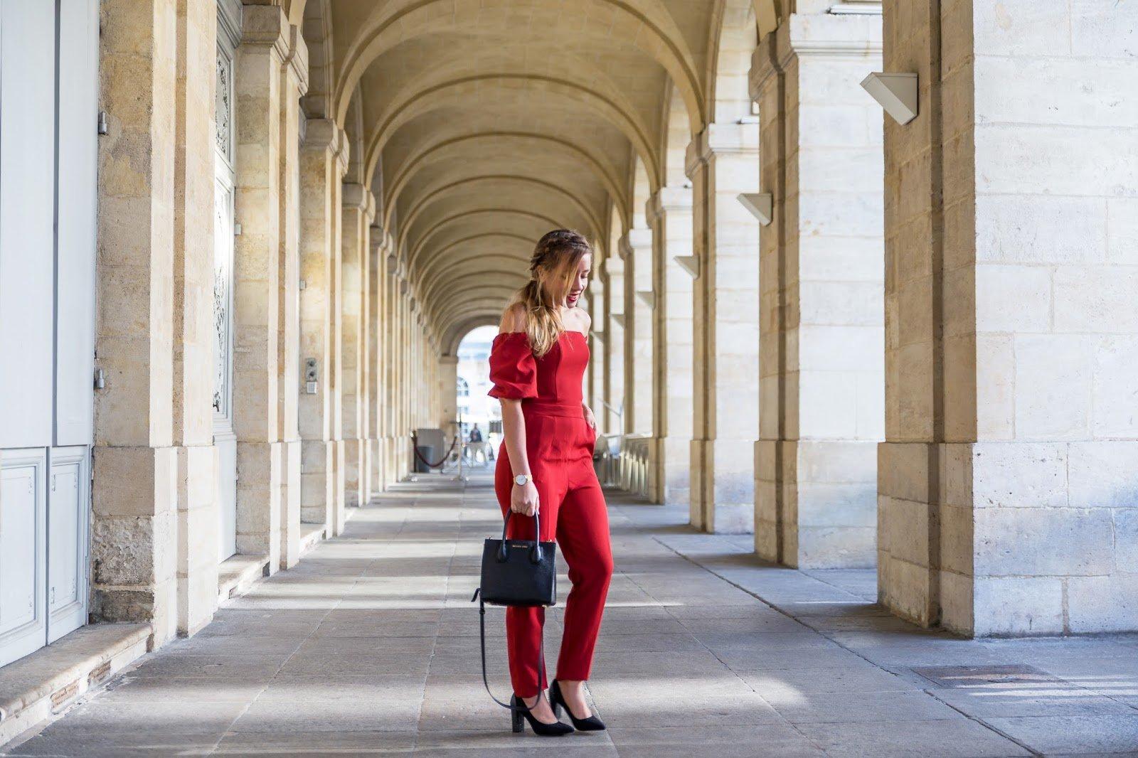 combinaison pantalon rouge