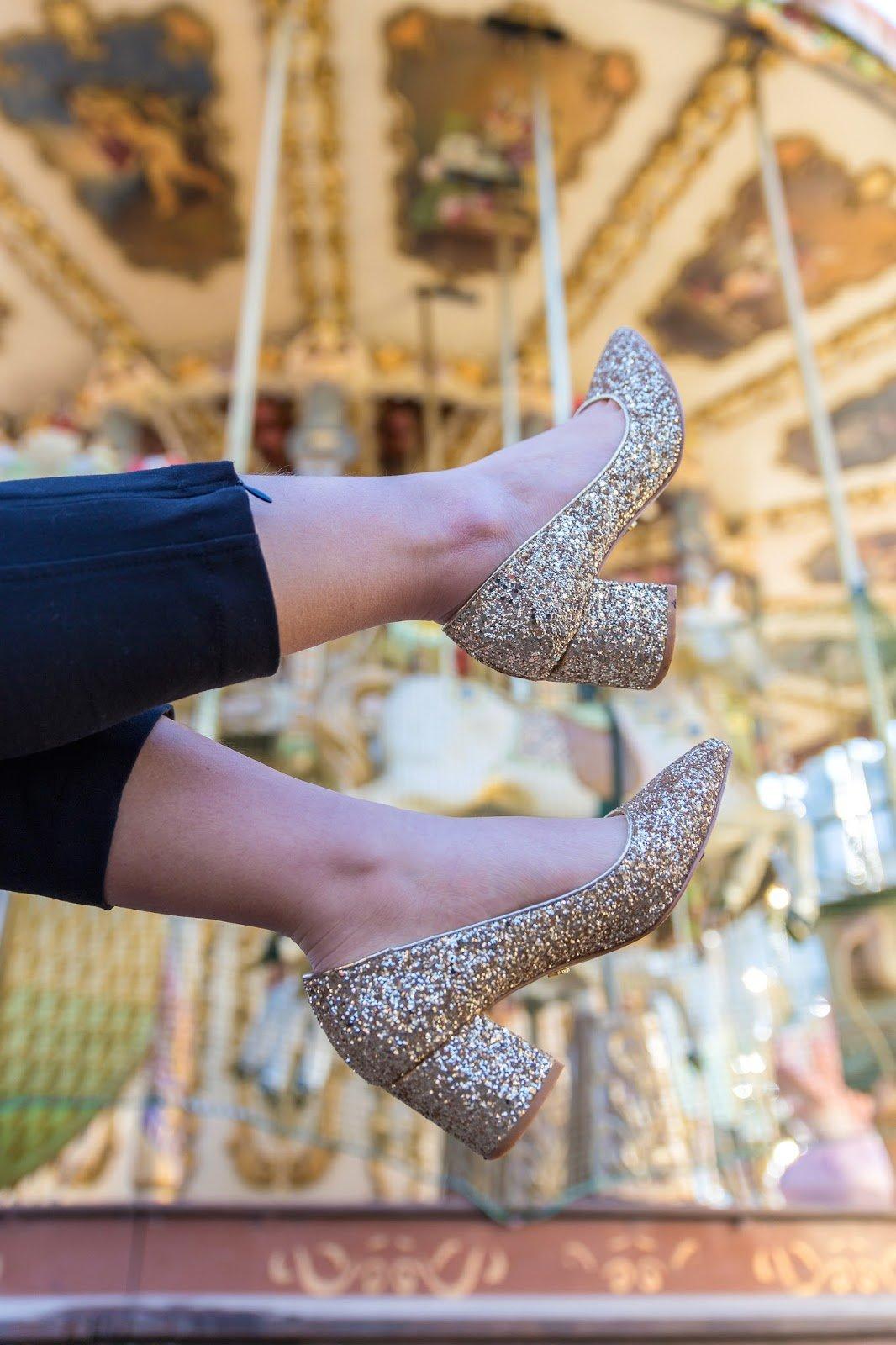 Escarpins dorés paillettes