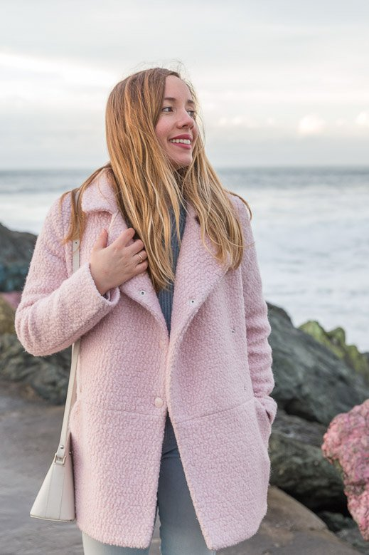 manteau rose tendance hiver Pastel