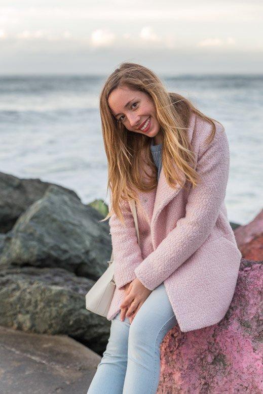 manteau rose hiver Pastel