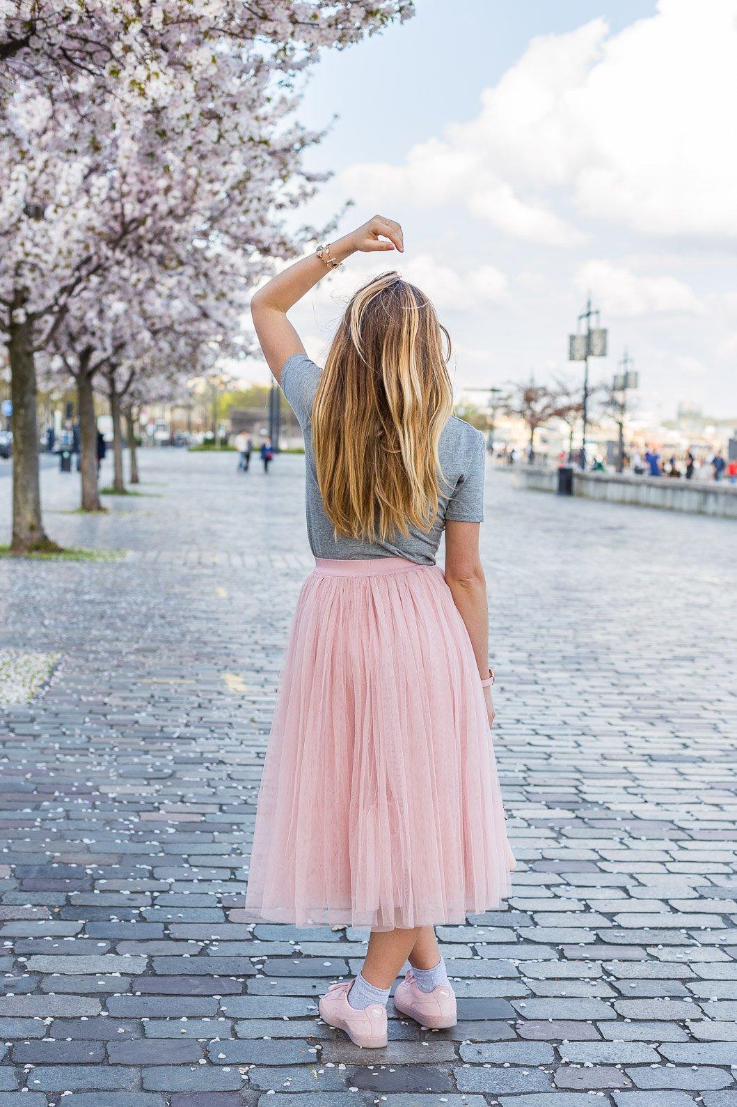 jupe longue rose Cache Cache