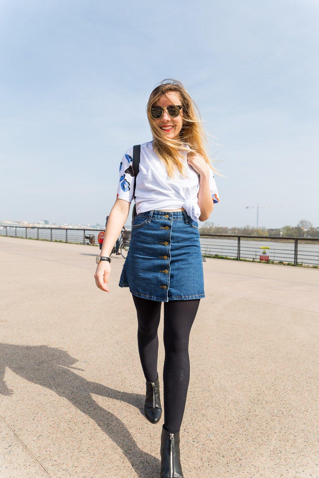 blog mode tenue du jour printemps jupe jean