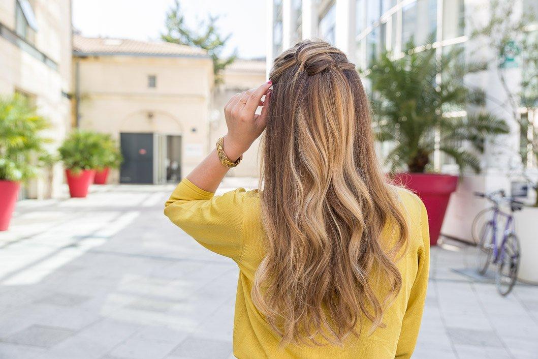 coiffure cheuveux longs look Zeste de citron