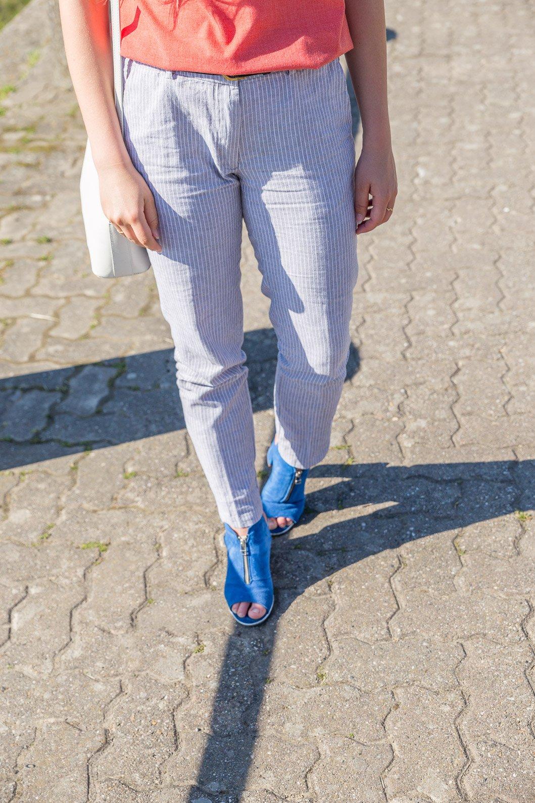 pantalon rayures bleu
