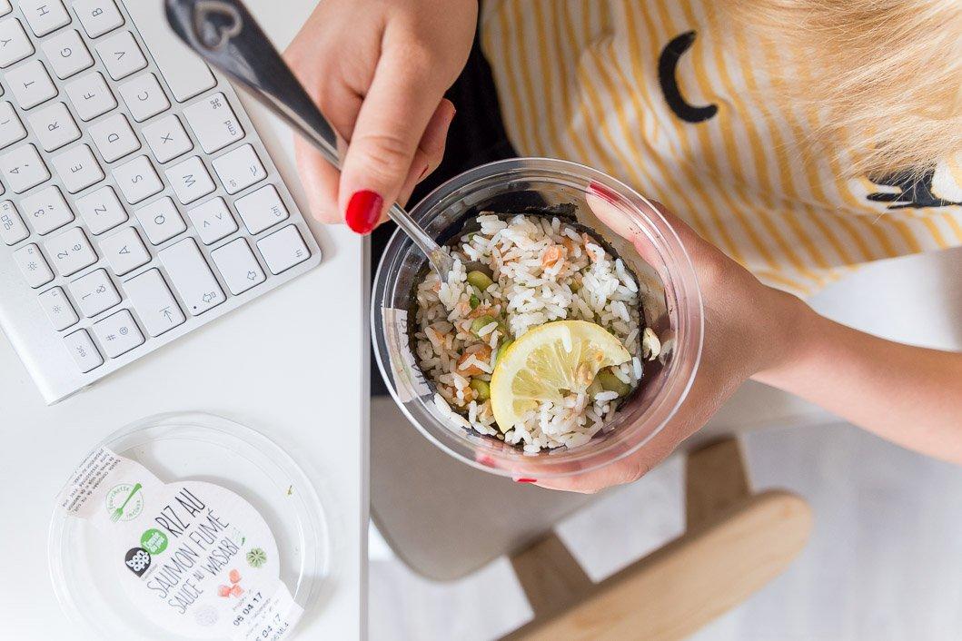 Riz saumon fumé wasabi