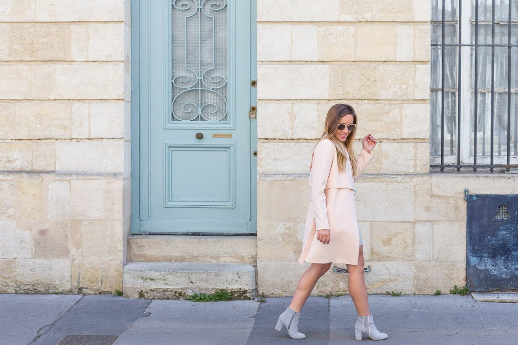 total look pastel blog mode trench rose