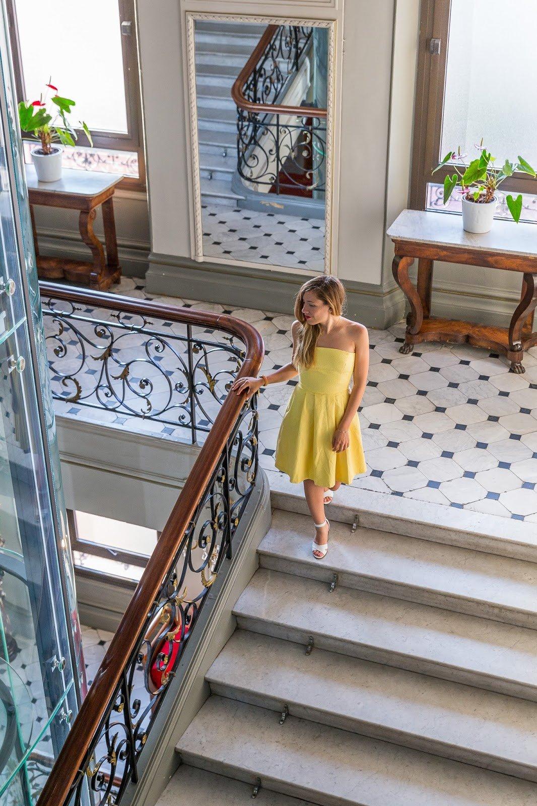Robe jaune bustier La Redoute