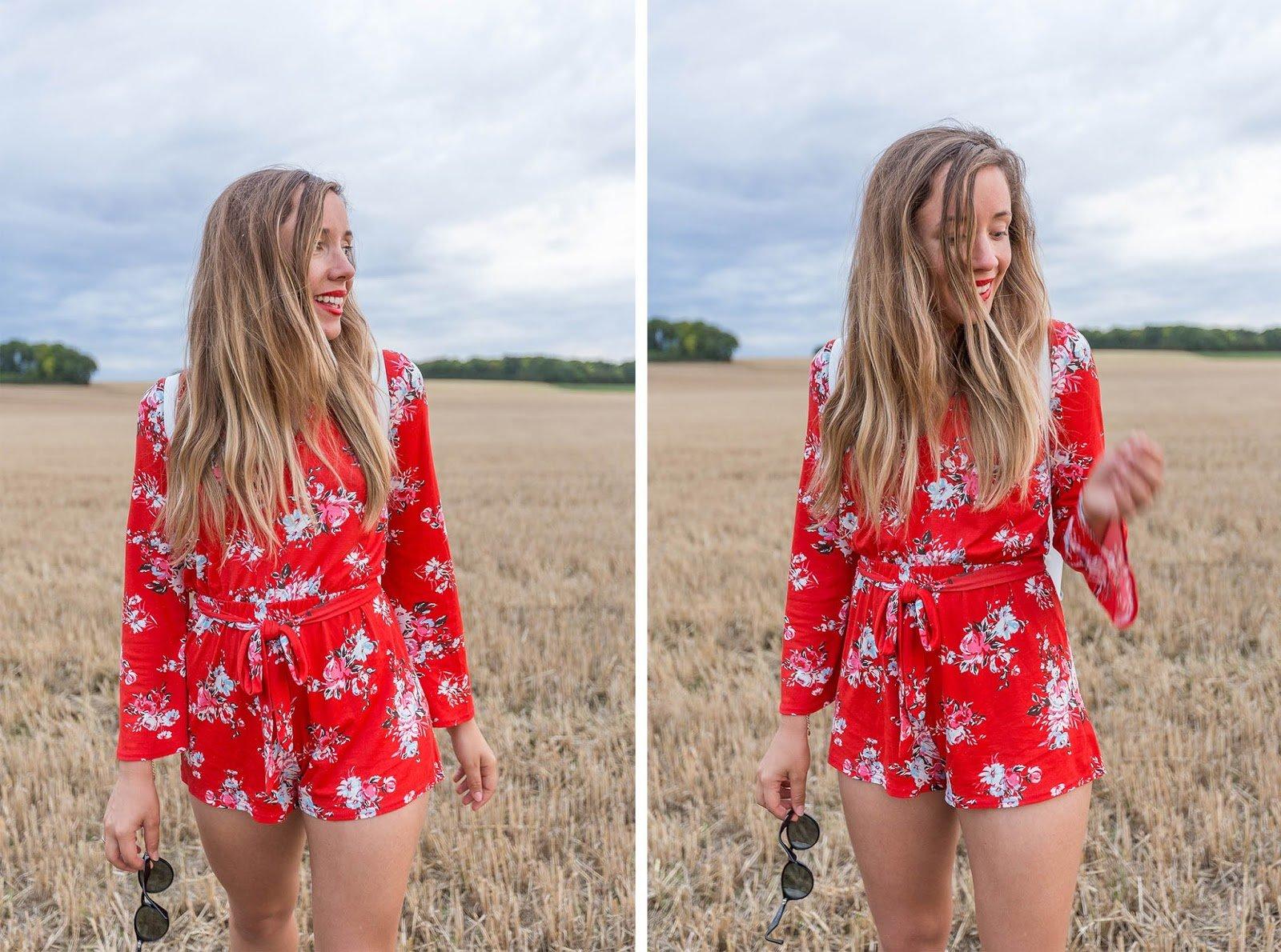 tendance robe rouge à fleurs combishort