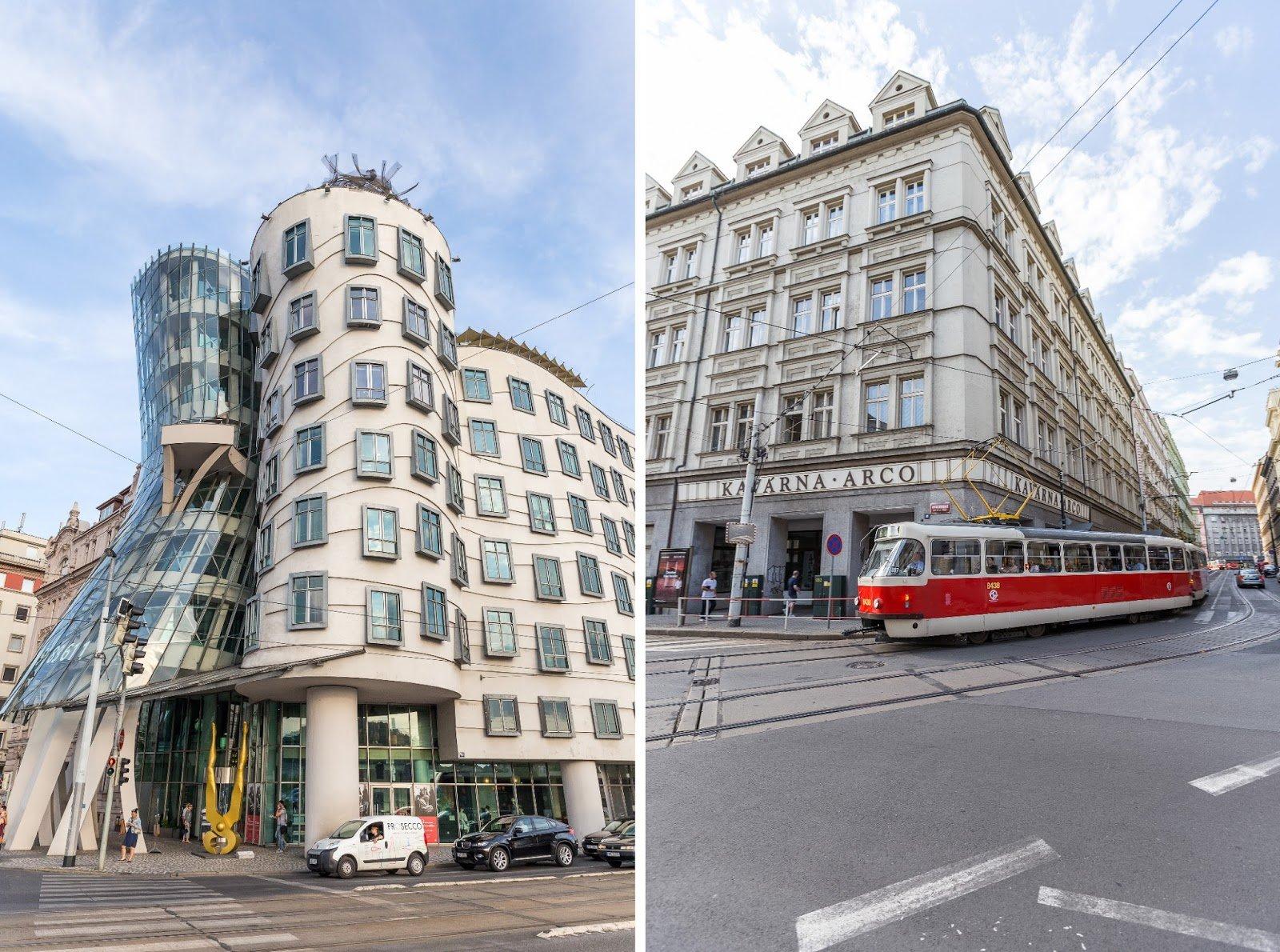 Prague maison dansante et tram