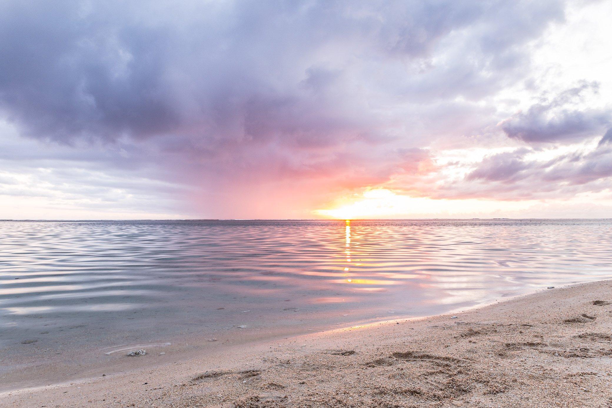 coucher de soleil lagon La Réunion