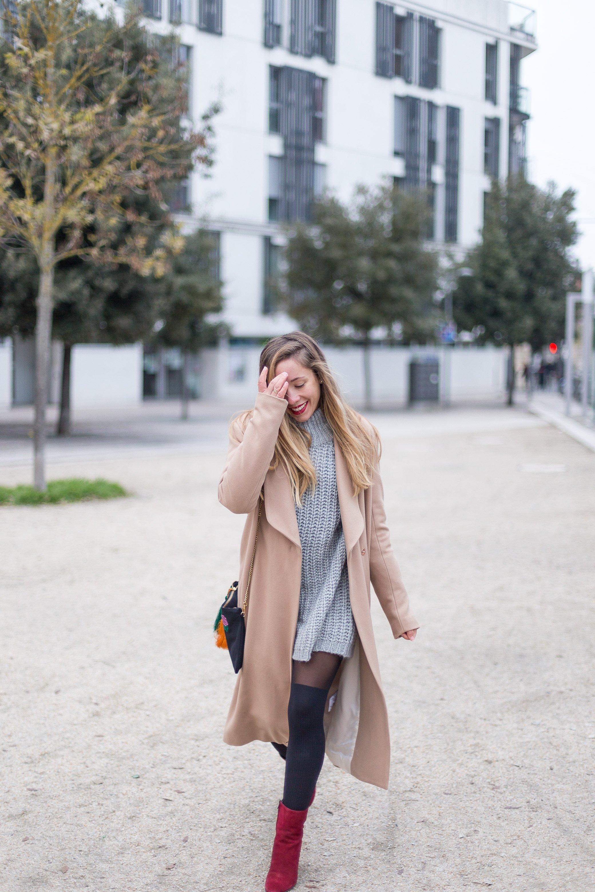 look hiver soldé manteau long camel