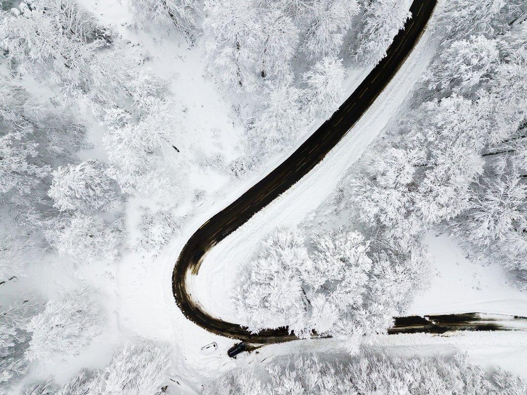 Route enneigée Pyrénées