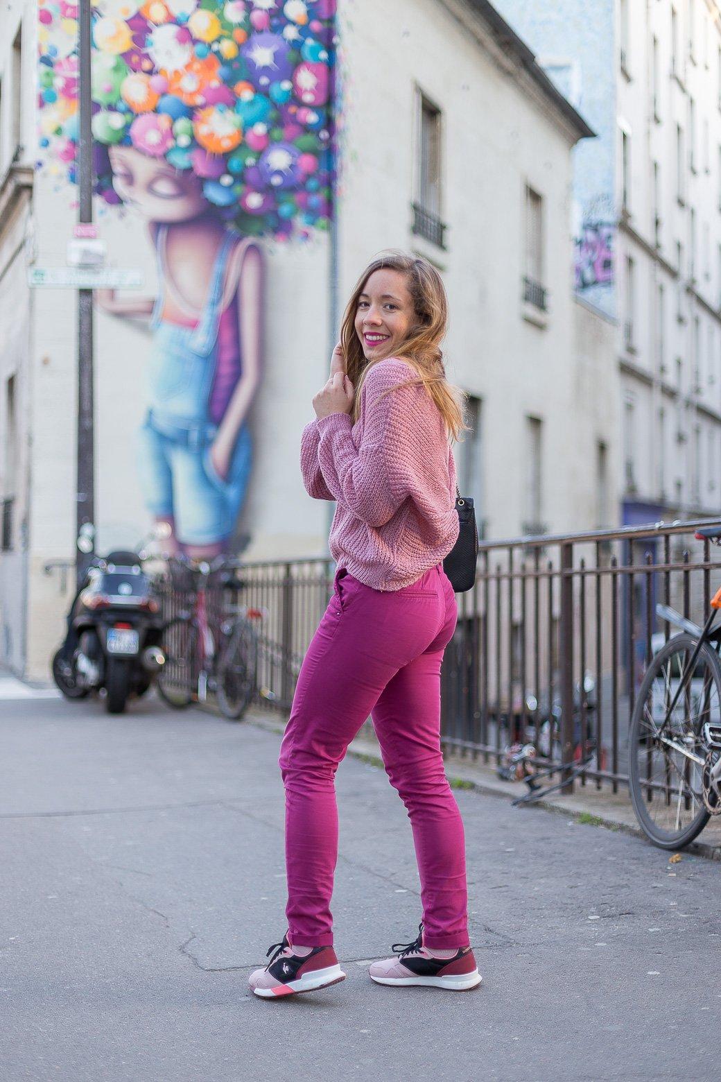 Pantalon chino rose DDP
