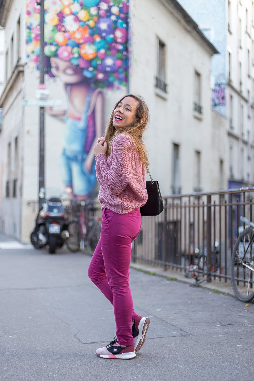 pantalon chino framboise