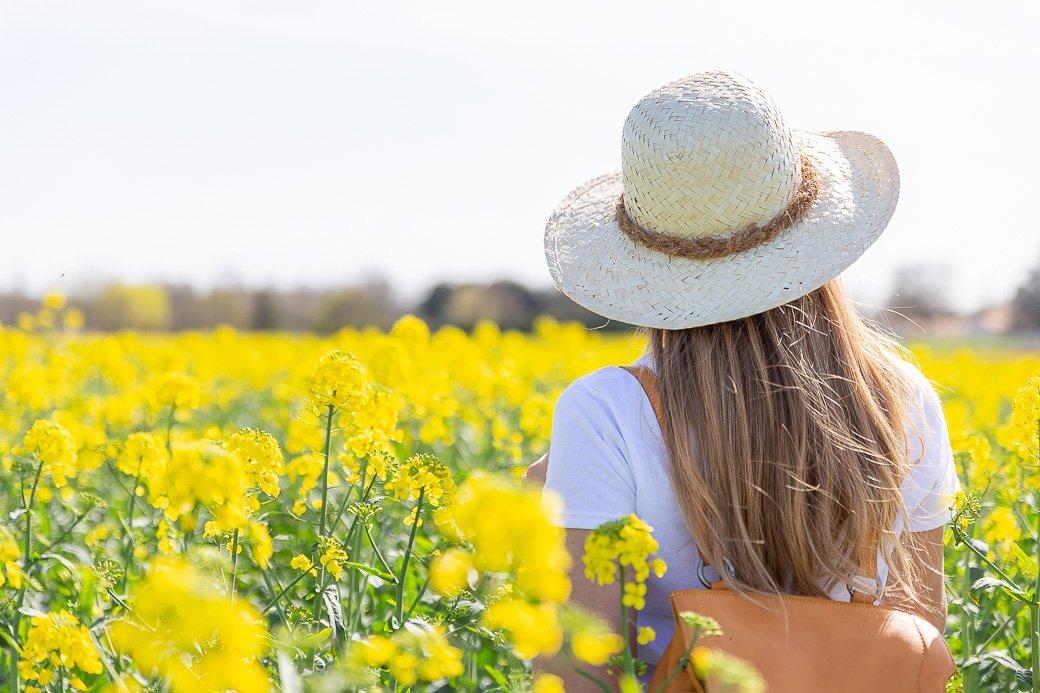 chapeau de paille champ de fleurs