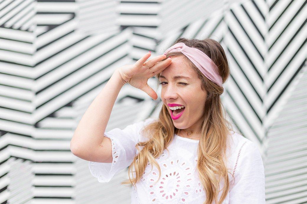 headband rose printemps