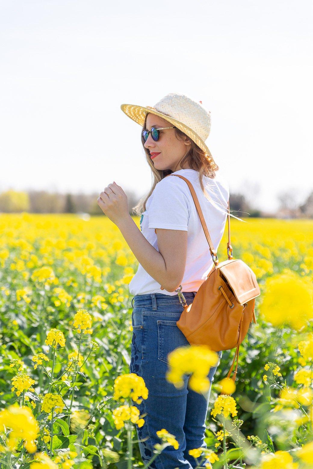 sac à dos jaune cuir