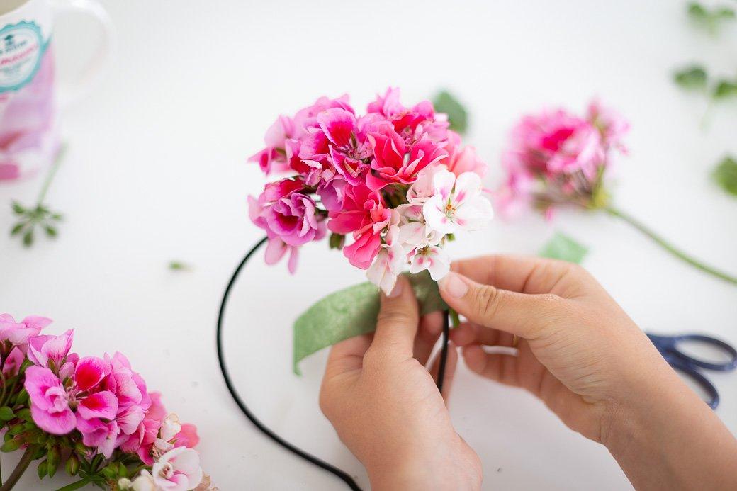 headband à fleurs fraiches floratape