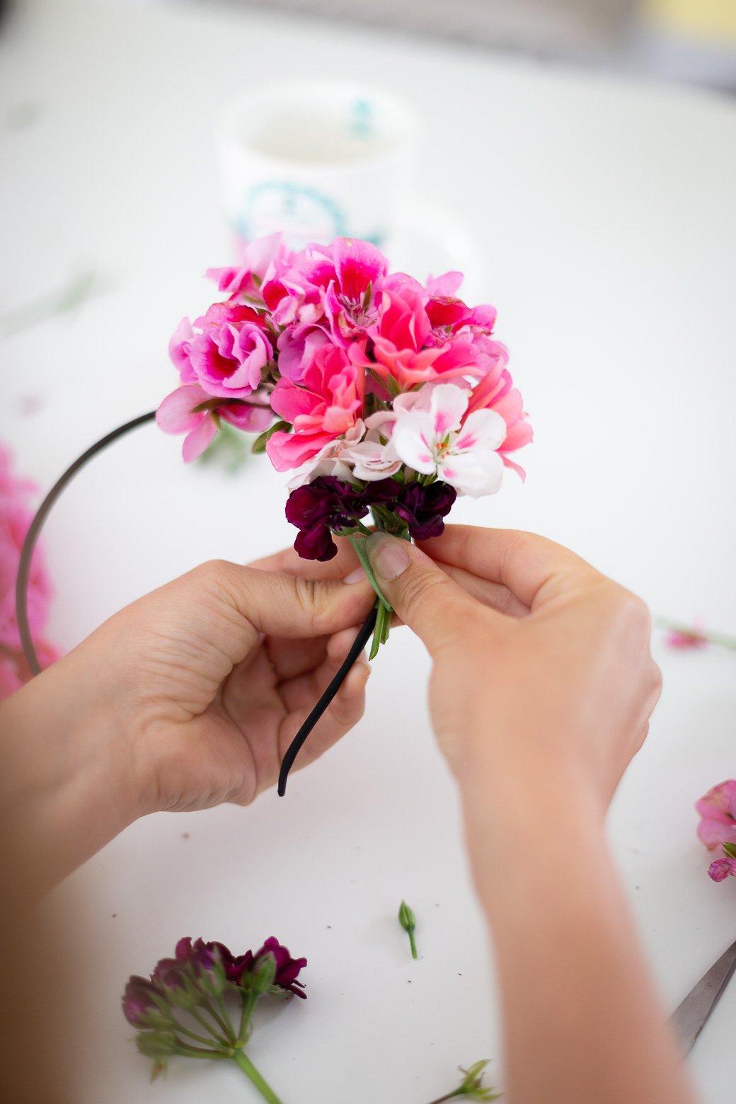 couronne fleurs fraiches géranium